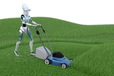 lawnmower: Robot mowing grass with lawnmower. Stock Photo