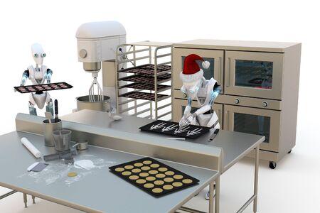 休日のクッキー作りロボットの 3 D レンダリング伊那ベーカリー。 写真素材