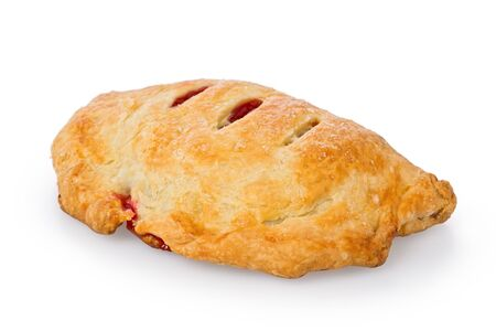 turnover: Homemade cranberry turnover against a white background. Stock Photo