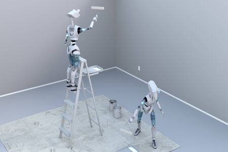 Two robots painting a room using paint rollers. One standing on a step ladder, and the other on the ground. photo
