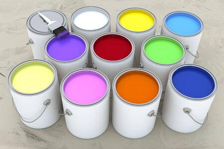 paint cans: 3d render of several open paint cans of assorted colors. Stock Photo