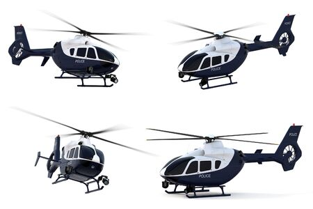 3D render of a police helicopter against a white background. Stok Fotoğraf