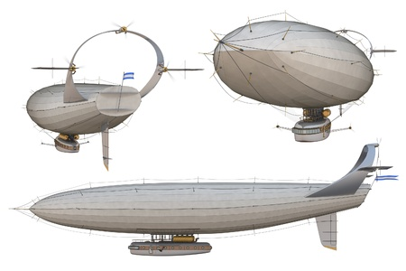 aerostat: 3D render of a steampunk airship, or dirigible, against a white background.
