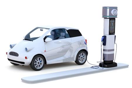 3D render van een compacte elektrische auto opladen in een laadstation tegen een witte achtergrond.