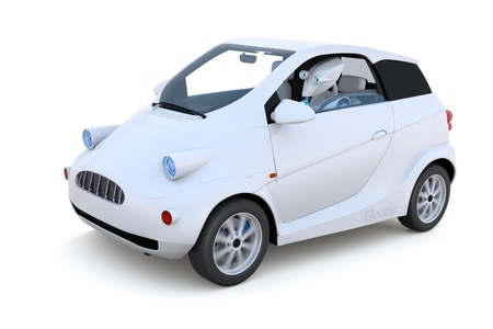 3D render of a robot driving a compact car against a white background. Imagens