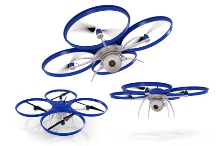 drone: 3D composite of a small police surveillance drone against a white background. Stock Photo