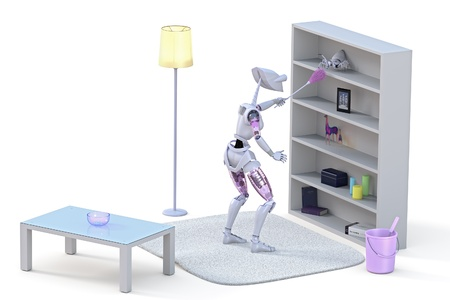 3D render of a robot confronting a spider with a pink duster while doing housework against a white background.