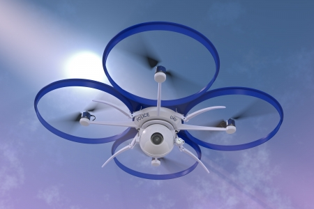 3D render of a small police surveillance drone against a dramatic sky background. Stock Photo