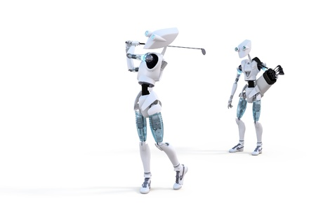 caddy: Robot playing golf with caddy against a white background.