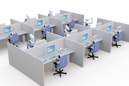 3d render of several robots working in office cubicles against a white background.