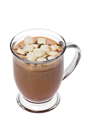 A glass of hot chocolate with marshmallows against a white background.