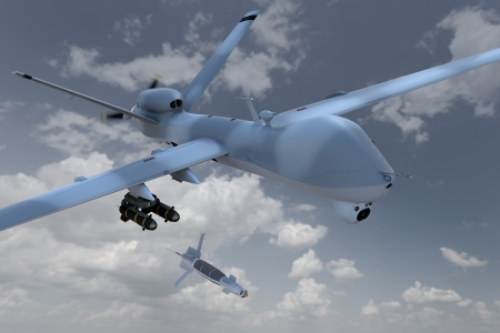3d render of an unmanned aerial vehicle, or drone, dropping a laser guided bomb against a cloudy sky.