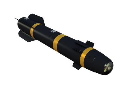 guided: Air-to-surface laser-guided missile against a white background