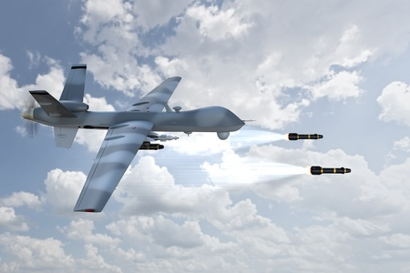 3d render of an unmanned aerial vehicle, or drone, launching laser guided missiles, against a cloudy sky background  Imagens