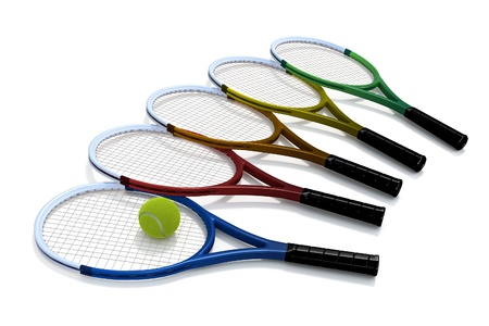 Five tennis rackets in a variety of colors, and a tennis ball, against a white background. photo