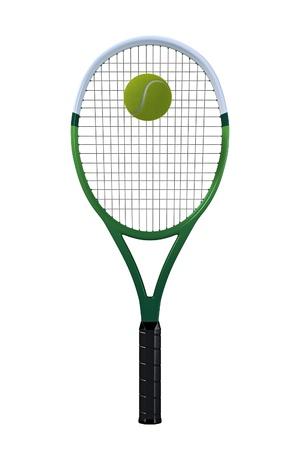 背景が白いボールと単一の緑と白のテニス ラケット。
