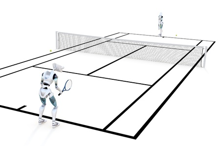 artificial model: Two robots playing a game of tennis against a white background. Stock Photo