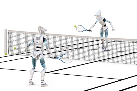 Two robots playing a game of tennis against a white background. photo