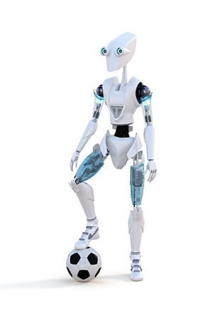 Robot with soccer ball against a white background. photo