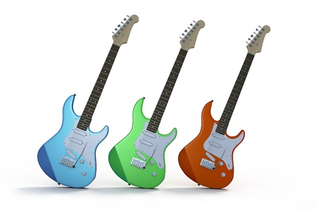 electric blue: Three electric guitars, one blue,  one green and one red, against a white background