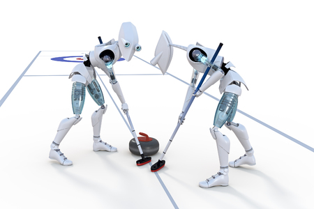 curling: 3d render of two robots competing in a curling competition against a white background. Stock Photo