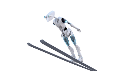 3d render of a robot ski jumping against a white background. photo