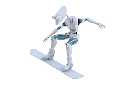 snowboarder: 3d render of a robot snowboarding against a white background.