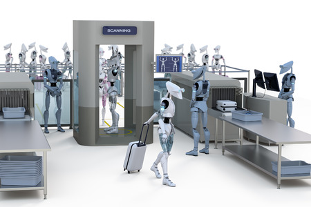 artificial intelligence: 3d render of robots going through airport security