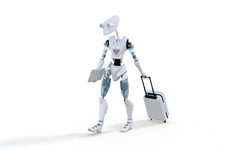3d render of a robot with roller suitcase and small laptop against a white background. photo