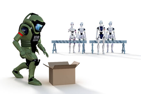 3d render of a robot bomb squad technician investigating a suspicious box, with robot bystanders watching, against a white background.