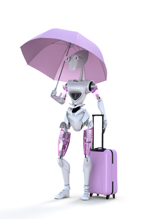 Robot standing with a pink umbrella and suitcase against a white background