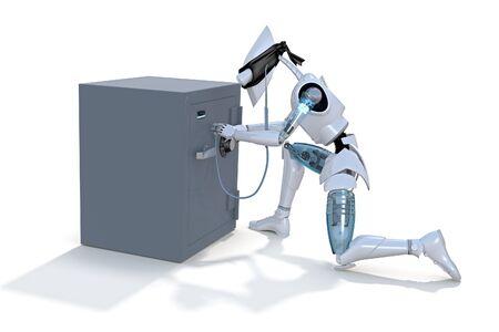 白い背景に対して聴診器を使用して安全に壊すロボット泥棒の 3 d レンダリング 写真素材