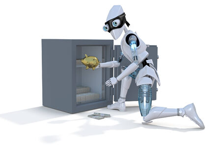 cracking: 3d render of a robot thief stealing a gold piggy bank from a safe, against a white background