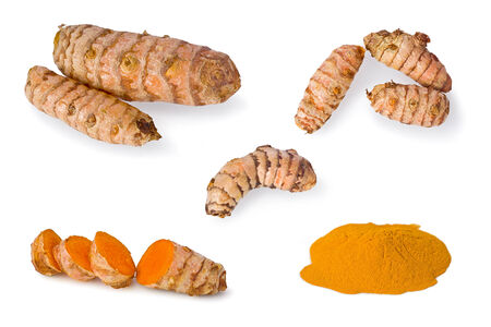 Composite of raw and powdered turmeric against a white background.