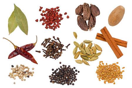 Composite of several spices: Bay leaves, annatto, black cardamom, nutmeg, hot peppers, cloves, green cardamom, cinnamon sticks, white pepper, black pepper, and fenugreek.