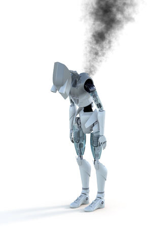 3d render of an over-heated, burned out robot with smoke against a white background.