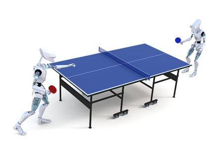 Two robots playing a game of table tennis against a white background. photo