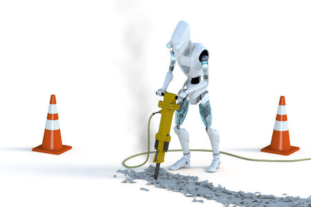 3d render of a robot using a jackhammer against a white background.