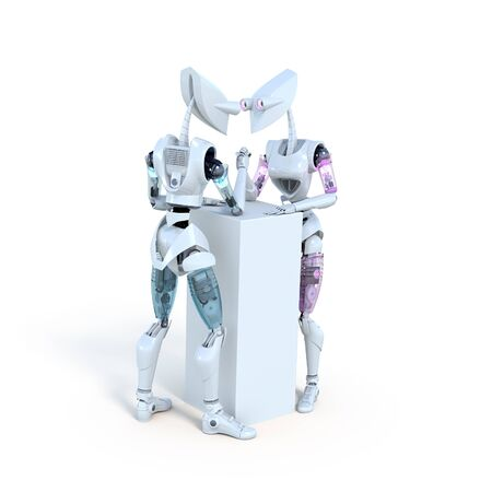 one female: Two robots, one male and one female, arm wrestling.