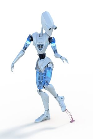 chewing gum: Robot stepping on chewing gum against a white background.