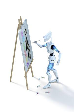 3d geef van een robot schilderen op een doek tegen een witte achtergrond.