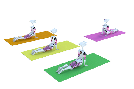 contemplation: 3d render of several robots in a yoga class on different colored mats, against a white background.