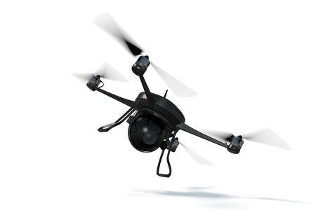 3D Rendering of a small black drone against a white background.