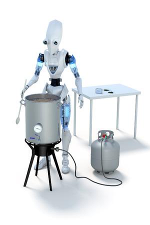 自家製ビールに麦汁を沸騰ロボットの 3 D レンダリングします。