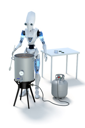 wort: 3D Rendering of a robot boiling wort to make homebrewed beer. Stock Photo