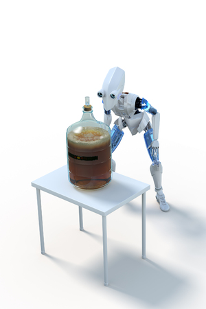 fermenting: 3D Rendering of a robot with a glass carboy of fermenting home-brewed beer on a small white table, against a white background. Stock Photo