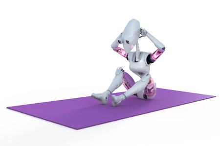 3d render of a female robot doing sit ups on a mat, against a white background. Stock Photo
