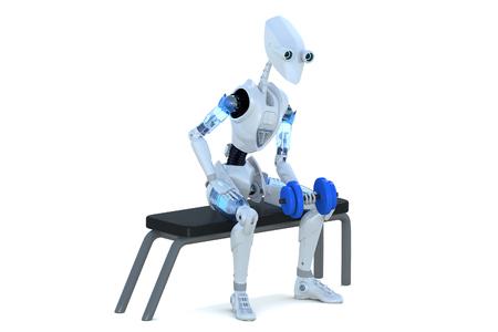 흰색 배경에 대해 왼쪽 팔으로 아령 운동을 하 고 벤치에 앉아 로봇의 3d 렌더링.