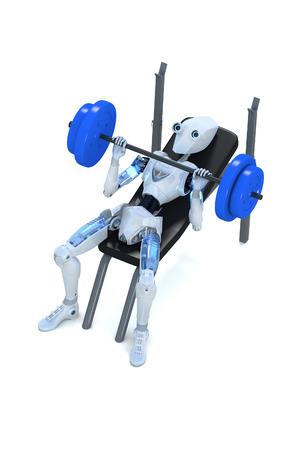 흰색 배경에 대해 바 벨과 벤치 프레스를 하 고 로봇의 3d 렌더링.