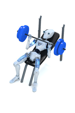 3d render of a robot doing bench presses with a barbell , against a white background.